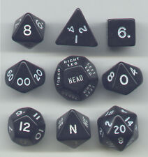 RPG Opaque Black Dice Cube 9pc D20, D12, D10, D8, D6, D4, Compass, Hit loc.