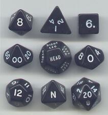 RPG Opaque Black Dice Cube 9pc D20, D12, D10, D8, D6, D4, Compass, Hit loc.
