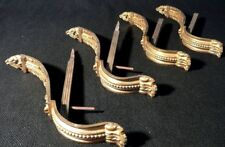 """4 curtain rod brackets, tie back, solid brass, Federal NeoClassical c1820, 9.5"""""""