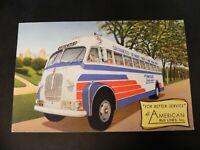 Rare All American Bus Lines Linen Postcard California AZ CA TX Truck Adv Car Ad