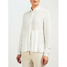 NEW + TAGS * HUGO BOSS * 'ROBIKA 100% WHITE SILK, LONG SLV BLOUSE SZ 10 RRP £210