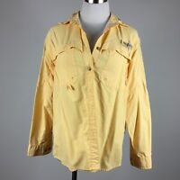 Columbia Womens Camp Shirt S Yellow Long Sleeve Nylon Button Up