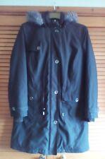 M&S Per Una Ladies Long Black Shower Resistant Parka Style Coat, size M (12/14)