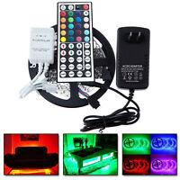 5M RGB 5050 Flexible LED Strip light SMD 44 Key IR Remote 12V US Power Full Kit