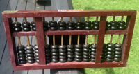 VTG Wood & Brass Abacus Chinese Calculator Rows Beads Bamboo Rods Peony