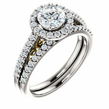 1 ct Round Diamond Halo Solitaire Ring 14k Two Tone Gold 1.64 tcw