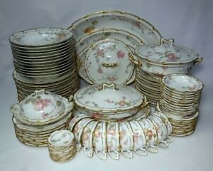 HAVILAND china H1096 PINK YELLOW & BLUE FLOWERS 90-Piece SET made circa 1897