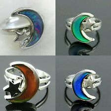 Ladies/Child's Moon+Star Colour Change Adjustable Mood Ring 1 Size Fits All! UK