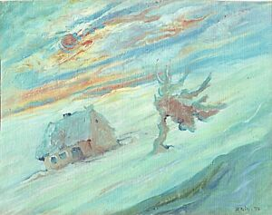 Zeid Saleh Irakien Artist Postimpressionism Oil on Canvas Landscape 1948 Signed