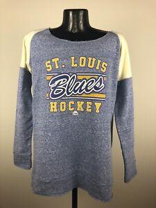 Women's St. Louis Blues Scramble Sport Blue Open Crew Neck Fleece NWT Medium