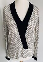 Zara Woman White Black Geometric Print Blouse Elegant V-Neck Contrast Top Size S