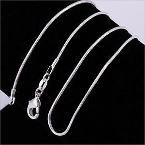 Unisex 925 Silver Plated Flat Snake Chain Necklace 16'' Length Only Chain