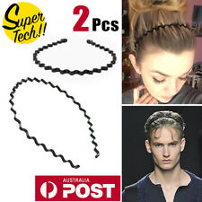 2PCS Womens Mens BLACK METAL WAVY HOOP Headband Unisex Hair Band