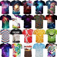 Nebula Abstract 3D Graphic Print Men Women Casual Short Sleeve Tees Tops T-Shirt