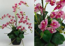 Orchideen-Arrangement rosa-pink im schwarzen Dekotopf JA Kunstpflanzen