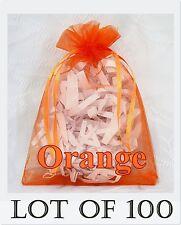 100 LARGE Organza Bag ORANGE Pouch Reception Jewelry Party Favor Shop 11x16 cm