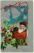 Santa Claus Ringing Bells, old embossed postcard