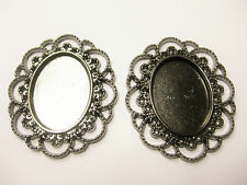 25 x 18 Cameo Cabochon Setting Black with Fancy Edging