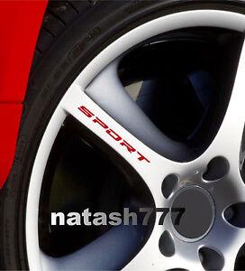 SPORT Decal Sticker Wheels Rims Racing Car Sticker Emblem logo RED Set of 4