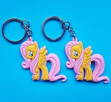 Fluttershy My Little Pony Keyrings x 2 Friendship is Magic Ponies Pegasus NEW