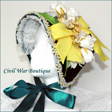 1800's Civil War Victorian Green Velvet Handmade Bonnet Hat Yellow Ribbon Flower
