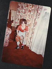 Vintage Photograph Adorable Little Boy With Baseball Glove in Retro Living Room