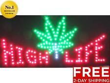 New High Life Neon Light Led Marijuana Pot leaf plant weed bar room decor 420