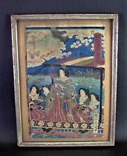 alter japanischer Holzschnitt, koloriert - BOOTSFAHRT mit 5 Personen / Geishas