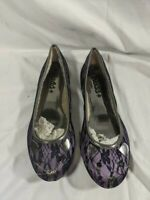 Mudd Black Purple Flowere Cat Face Ballet Flat Shoes 10 Medium Slip On