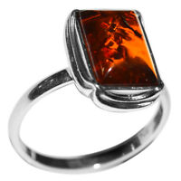 3.35g Authentic Baltic Amber 925 Sterling Silver Ring Jewelry N-A7091