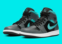 Nike Air Jordan 1 Mid Shoes Black Gray Aurora Green 554725-063 Women's/GS NEW