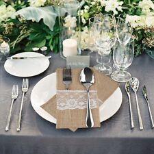 "10pcs Fork Knife Holder Pocket 4""x8"" Jute Burlap Lace Chic Tableware Wedding"