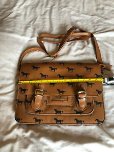 Ladies Faux Leather Brown Satchel With Horse Design