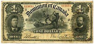 Genuine 1898 Dominion of Canada Dollar | F/VF Details