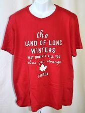 """Canada The Land Of Long Winters Red XL 42"""" Chest 100% Cotton Graphic T Shirt"""