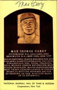 Max Carey Signed Baseball HOF Yellow Plaque Autographed Pirates JSA