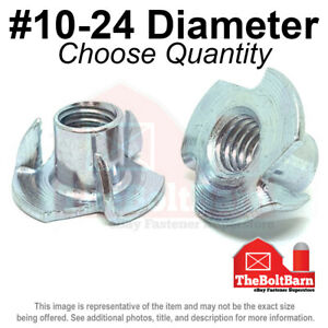 #10-24 Steel 3 Prong T Nuts Tee Zinc Plated Coarse Thread (Pick Quantity)