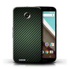 STUFF4 Case/cover for Motorola Nexus 6/carbon Fibre Effect/pattern/green