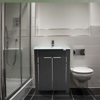 "HomCom 24"" Bathroom Vanity and Sink Combo Storage Cabinet Ceramic - Dark Coffee"
