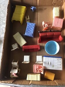 Vintage Lot Plastic Doll House Furniture, Chair, Chest, Japan, Ideal, Susy Goose