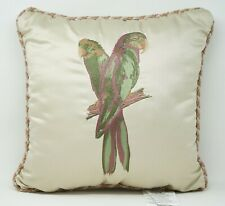 "Croscill Anguilla 16"" Tropical Parrot Birds Embroidered Decorative Pillow Beige"