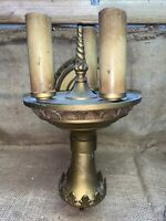 Vintage Heavy Metal Hard Wired Electric 3 Light Wall Sconce