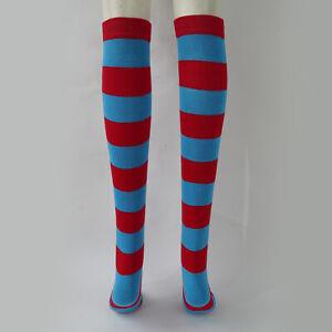 Striped Over-the-knee Leg Socks w/Headband Wig Cap Set Party Cosplay Dress up