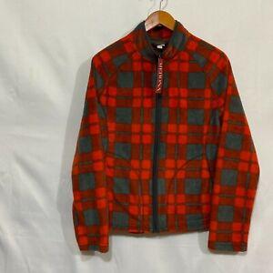Merona Womens Orange Plaid Checks Hand Pockets Full Zip Fleece Jacket Size XL