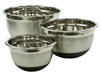Stainless Steel Mixing Bowl Set W/ Silicone Bottoms 3 Pieces Nested Bowl Set
