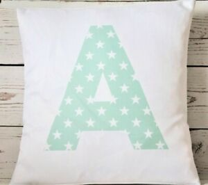 """Personalised mint star Initial (ANY COLOUR) 16"""" cushion cover girl/boy nursery"""