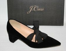 NEW J.Crew Avery Velvet Pumps with Bow Sz 7.5 Black Shoes H1859