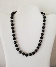 "Gorgeous Black Tourmaline Rose Cut Faceted Gemstone 18"" Necklace"