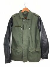 Topshop Womens Khaki Green Vegan Leather Sleeves Military Army Jacket UK10