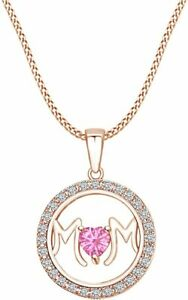 Simulated Tourmaline Circle Frame Mom Heart Pendant Necklace In 14k Gold Over